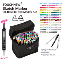 TOUCHNEW 80 Markers Artist Dual Head Art Sketch Markers Set For Manga Marker School Drawing Marker Pen Design Supplies for Kids touchnew 60 color dual head art marker set alcohol sketch markers pen for artist drawing manga water color brush