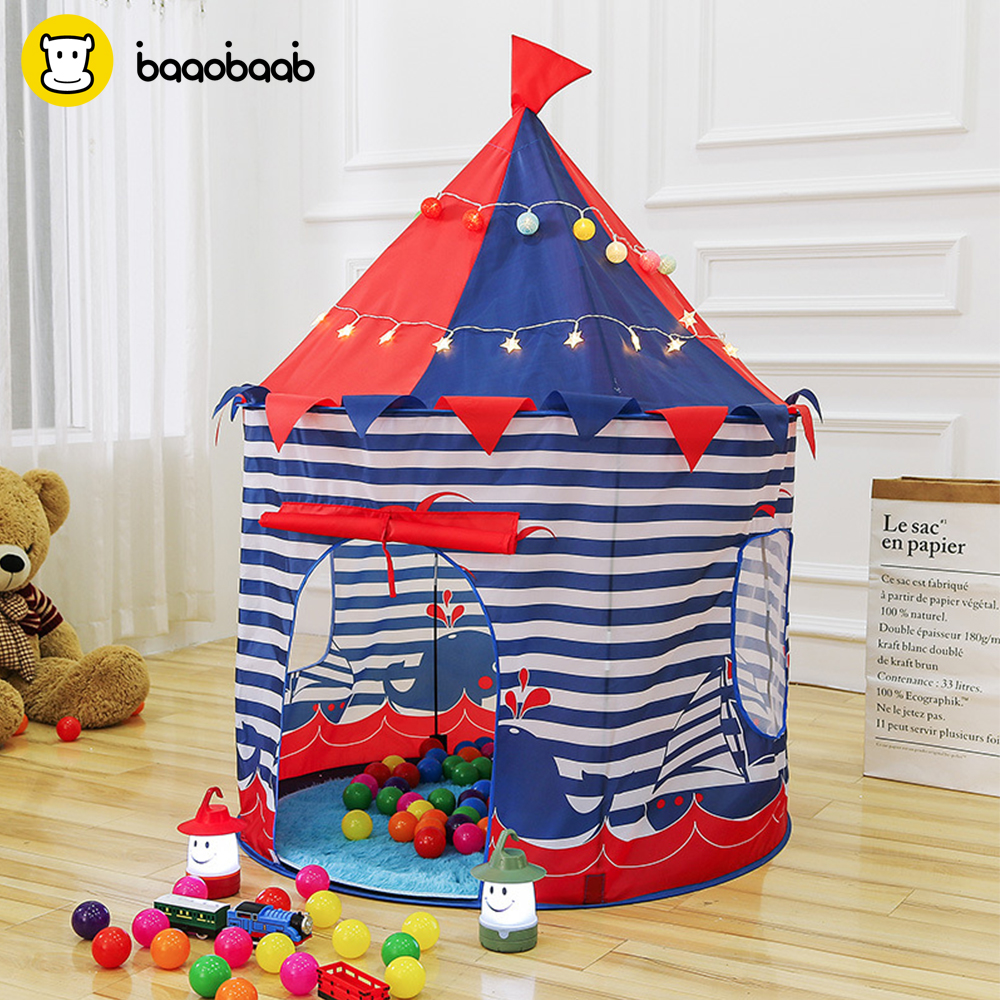 BAAOBAAB ZP00 Princess Prince Play Tent Portable Foldable Tipi Folding Tent Children Boy Castle Play House Kids Outdoor Toy Tent 3 colors play tent portable foldable tipi prince folding tent children boy castle cubby play house kids gifts outdoor toy tents