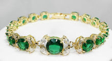 Sellin>Hot!  New Jewelry gold plate green crystal bracelet length 7.5 inches>free shipping