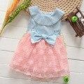 Vestido de mezclilla 2016 nuevo algodón del verano suave y cómodo Princessbaby los niños del cabrito ropa 2-7 años 2 colores al por menor venta al por mayor
