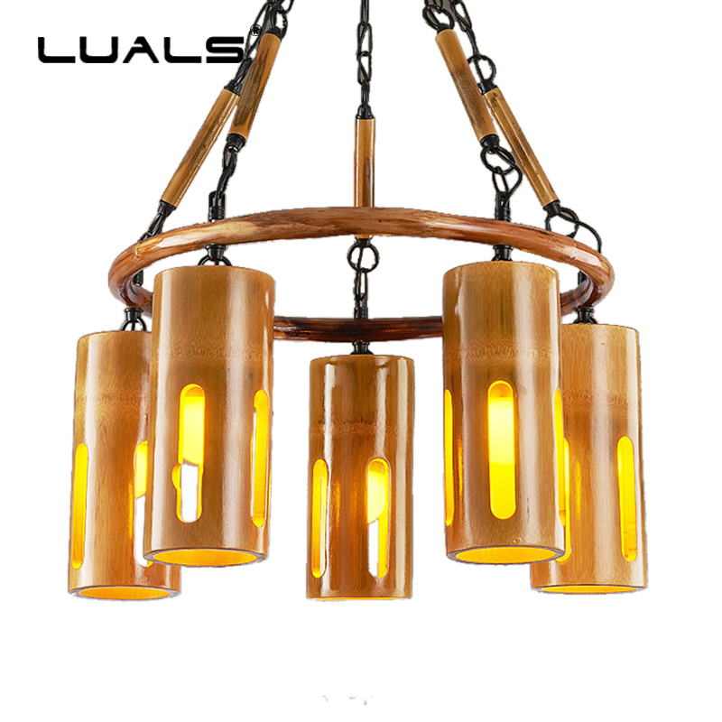 LUALS Bamboo Hanging Lamp Loft Pendant Lights Vintage Light Home Lighting Living Room Modern Led Lamps Art Deco Luminary