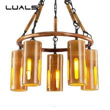 LUALS Bamboo Hanging Lamp Loft Pendant Lights Vintage Light Home Lighting Living Room Modern Led Lamps Art Deco Luminary
