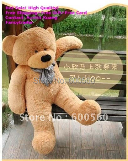ФОТО fancytrader 71 inches (180cm) new light brown giant plush teddy bear, valentine gift, plush teddy bear, free shipping ft90057