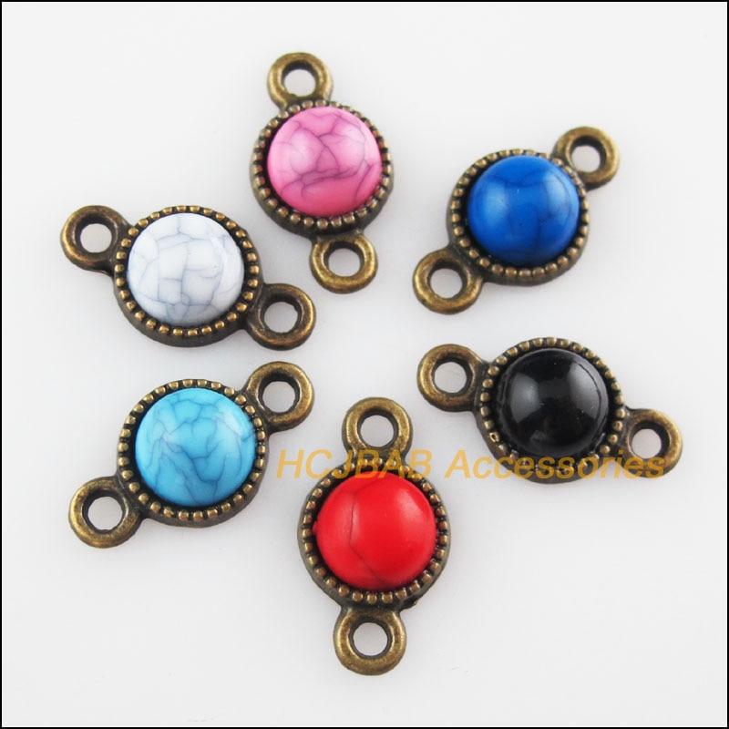 12Pcs Retro Antiqued Bronze Round Turquoise Charms Pendants Connectors 10x18.5mm