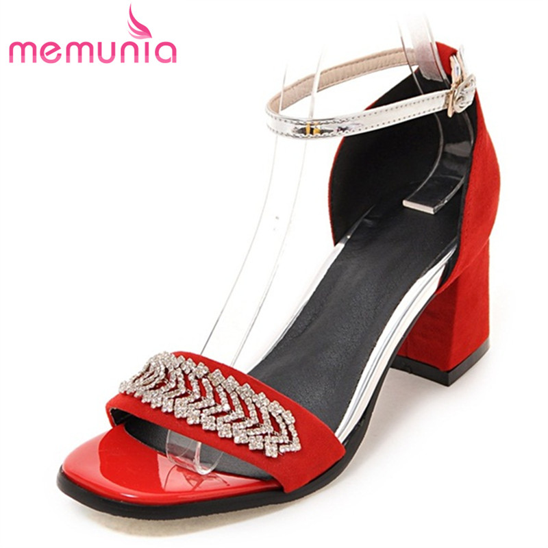 ФОТО MEMUNIA big size 32-47 women summer Sandals shoes cover heel buckle fashion shoes solid pu nubuck leather crystal ladies shoes