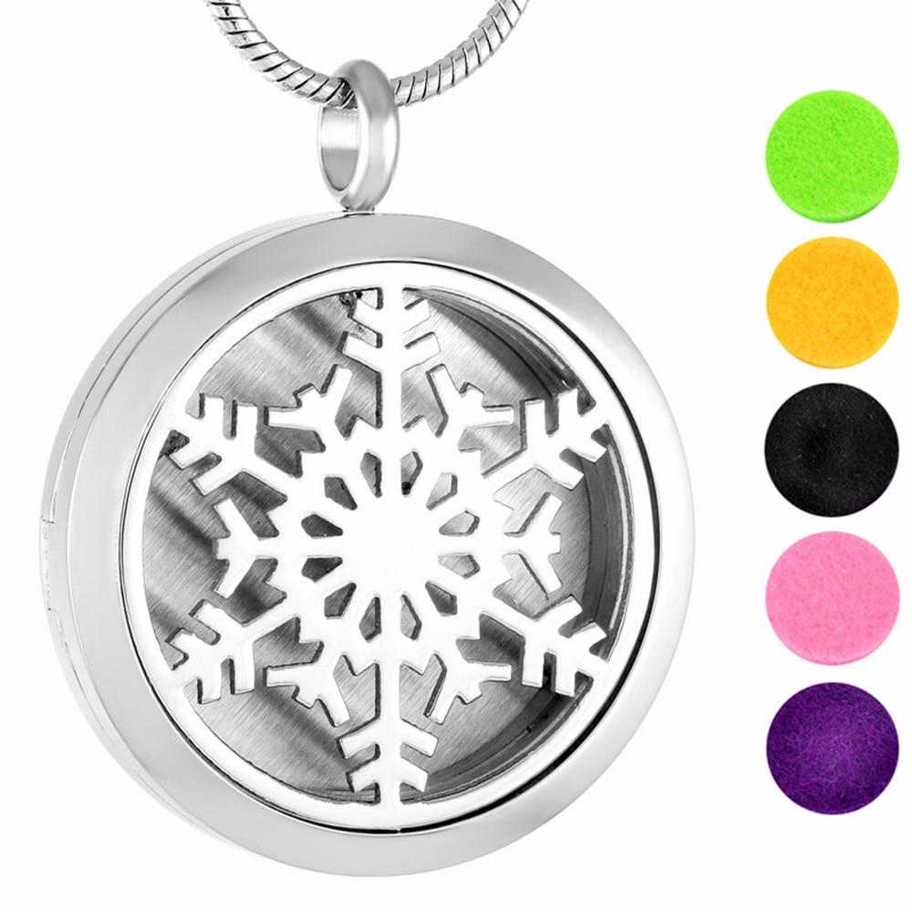 2491d5e8decf MJP0007 10 unids lote Snowflake Aromatherapy perfume difusor flotante  Locket Collar para el mejor regalo
