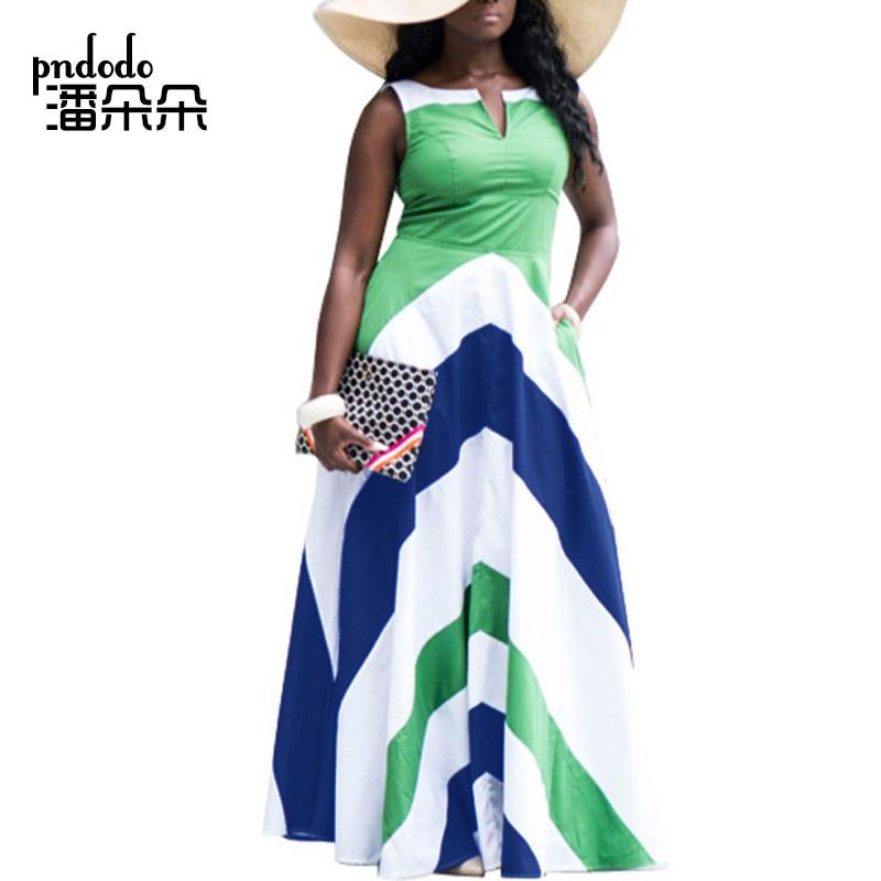Pndodo OVER PLUS SIZE Women Summer Sleeveless Long Sundresses Striped Print  Fit and Flare Dress 2018 New Boho Beach Maxi Dress 969e4e89bb2e