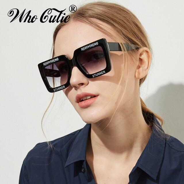 7e6bd23d4315 2018 Oversized Rectangular Sunglasses Women Brand Designer Retro Vintage  White Frame 90S Female Sun Glasses Ombre Shades OM625