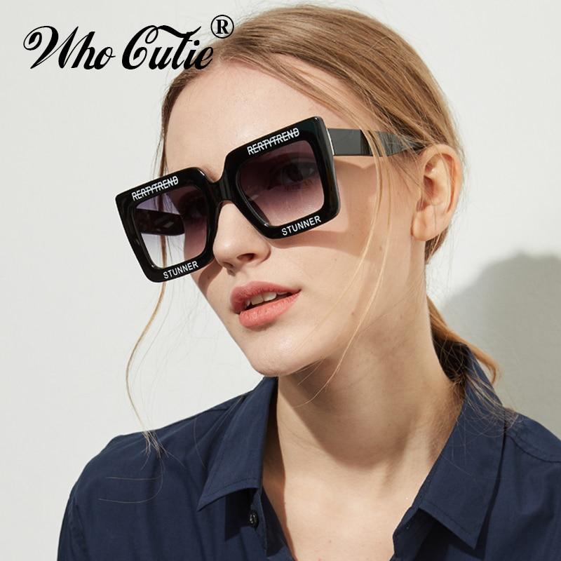 2018 Oversized Rectangular Sunglasses Women Brand Designer Retro Vintage White Frame 90S Female Sun Glasses Ombre Shades OM625