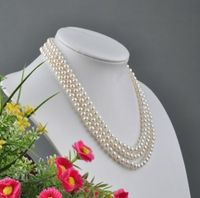 noble women gift Jewelry Silver Clasp Natural NATURAL LOVELY 3ROW 6 7MM WHITE NATURAL PEARL NECKLACE JEWLERY