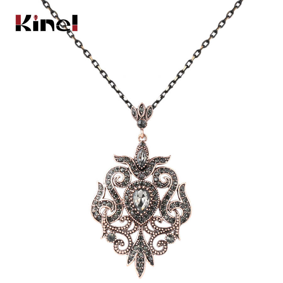 Kinel Unique Gray Crystal Pendant Necklace For Women Antique Gold Color Vintage Jewelry Party accessories Luxury Gifts