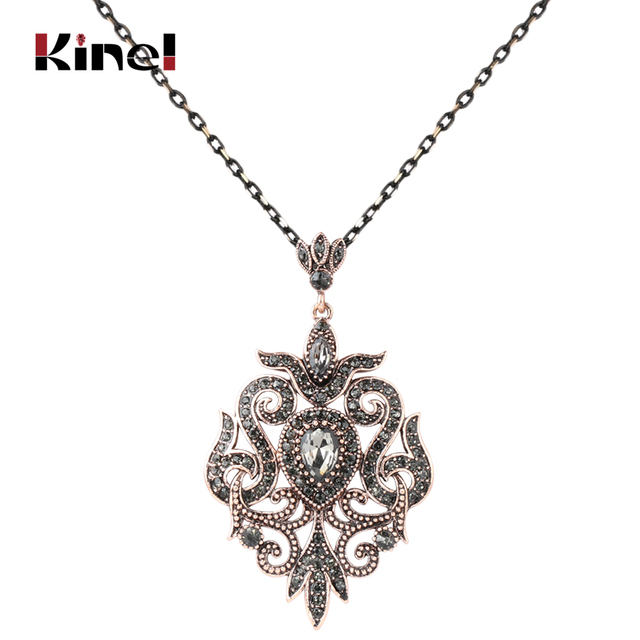 Kinel unique gray crystal pendant necklace for women antique gold kinel unique gray crystal pendant necklace for women antique gold color vintage jewelry party accessories luxury aloadofball Images