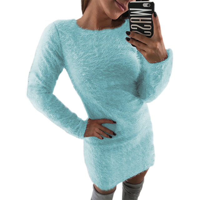 d6825e42830b4 Warm Robe Fuzzy Knitted Sweater Women Knitted Dress Femme Winter Plus Size  2018 Autumn Long Sleeve Knit Bodycon Dresses GV033