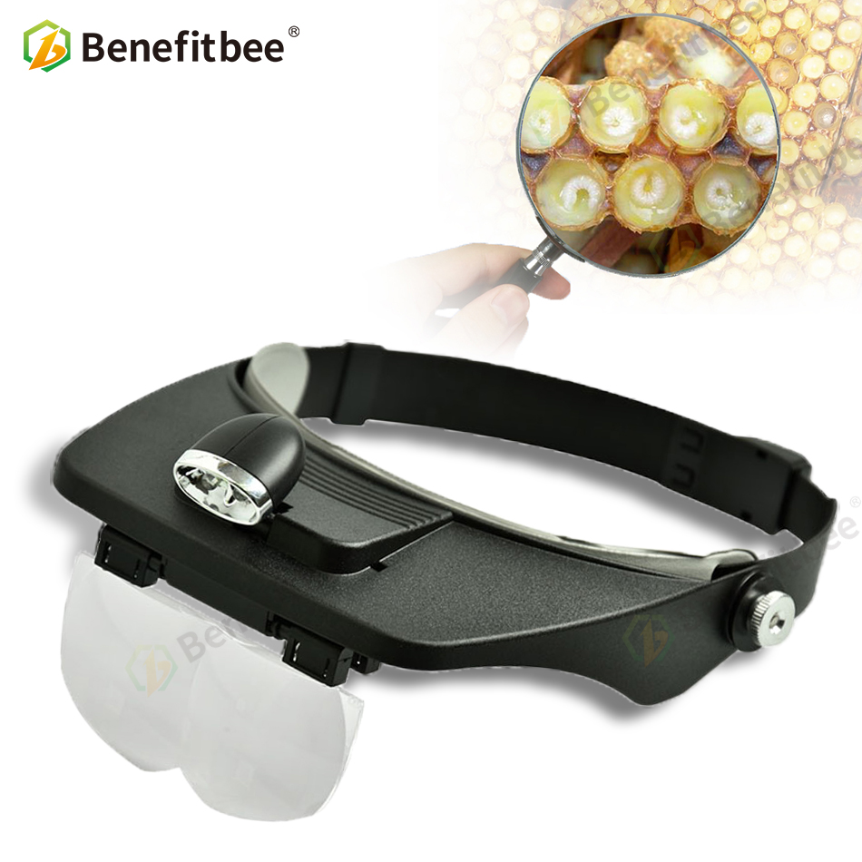 Brand Benefitbee Beekeeping LED Light Magnified Lens Wear Beekeeping Equipment Apicultura Use For Bee Marker Bee Marks Bee Tools