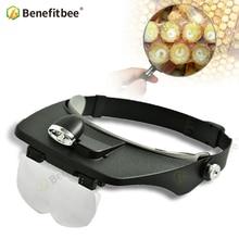 Merk Benefitbee Bijenteelt LED Licht Vergrote Lens Dragen Bijenteelt Apparatuur Apicultura Gebruik voor Bee Marker Bee Marks Bee Gereedschappen