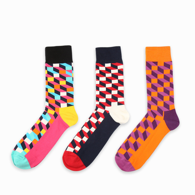 5 Pairs/lot Mens Colorful Funny Combed Cotton Socks Argyle Filled Optic Plaid Casual Dress Crew Socks Winter Socks P029
