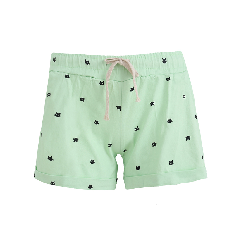 Lillian Store 2017 New Summer woman casual Shorts With Cats Pattern High Waist Elastic Cotton Fresh Color Casual Shorts