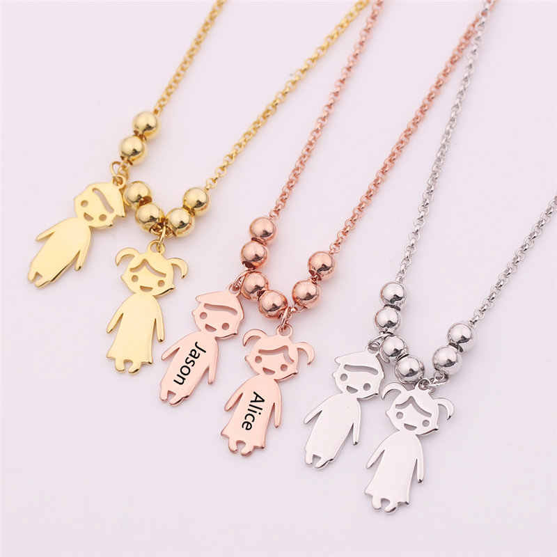 Customized Engraved Name Date Stainless Steel Baby Boy Girl Necklace Beads Charm Chain For Women Child Birthday Family Gifts