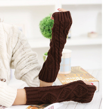 Floral Spring Fall Knitting Wool Fingerless Gloves