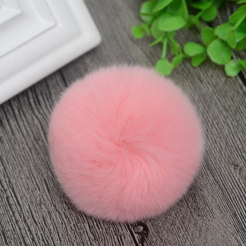 8cm Nature Genuine Rex Rabbit Fur Ball Pom Pom Fluffy DIY Winter Hat   Skullies     Beanies   Knitted Cap Pompoms F001-pink