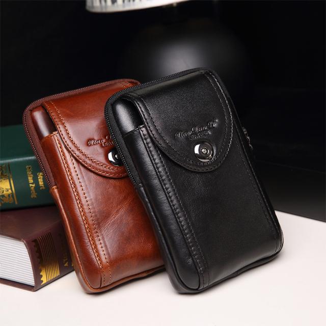 Novo estilo moda couro genuíno cintura packs para homens sacos de cintura ocasional saco do telefone móvel carteira sacos com alta qualidade