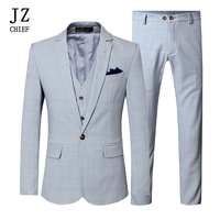 JZ CHIEF Men's Suits Elegant Blazer Vest And Pants 3 Pieces Suits Male Slim Fit Single Breasted One Button Wedding Suit Big Size