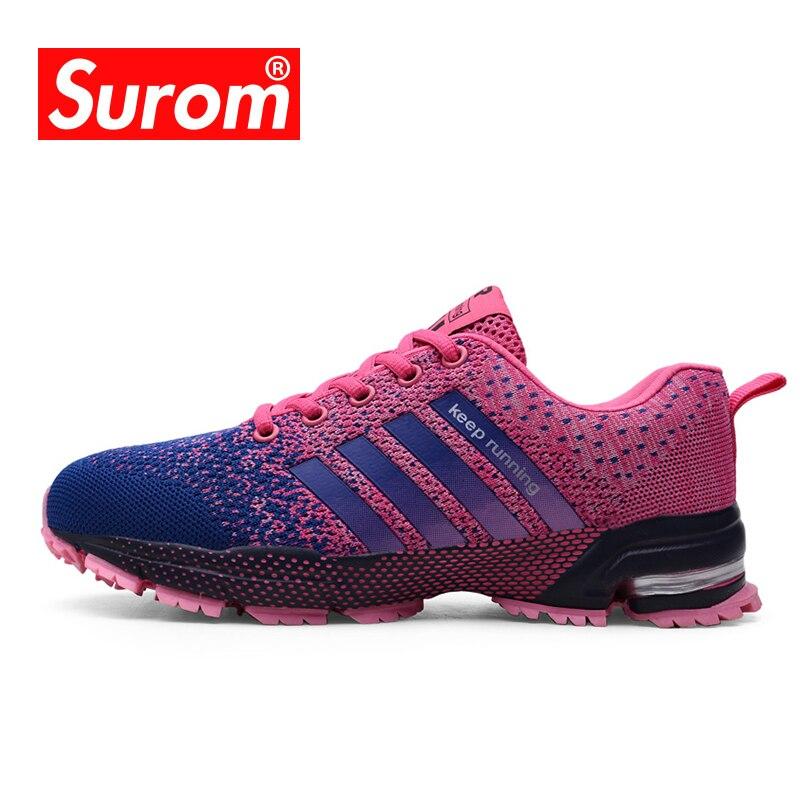 SUROM 35 ~ 41 Voar Linha de Tênis de corrida Das Mulheres Sapatos Flats Desporto Feminino Verão Ao Ar Livre Sneakers Leves Mulheres Krasovki
