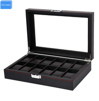 Lockable Stripe Leather Roll 12 Slots Organizers Retail Watch Box jewelry Exhibitor Carbon Fiber Box Collect Be Well Box Winding