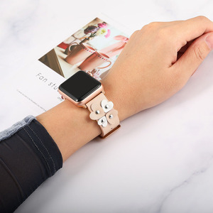 Image 5 - Bandream Women Leather Watchband for iWatch Apple Watch 5 4 3 2 1 44mm 40mm 42mm 38mm Wrist Band Female Strap Rose Gold Silver
