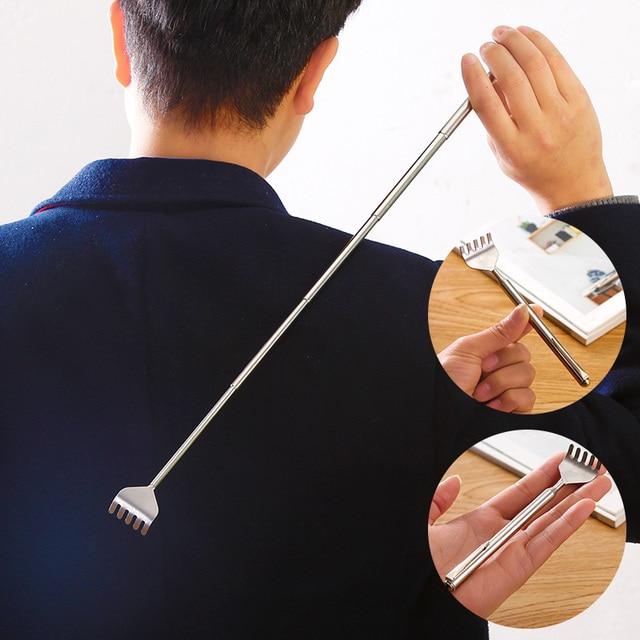 Herramienta de masaje telescópica portátil de acero inoxidable, tamaño ajustable, rascador de picaduras en la espalda (muñeco para niños, juguete para niños y niñas)