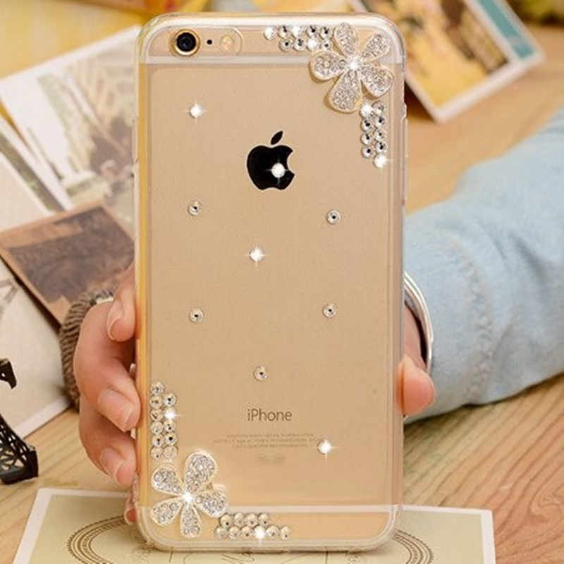 Funda para iPhone XS Max XR X 8 Plus 3D hecha a mano transparente brillante flor cristal diamante perla piel 7 Plus 6 6 Plus 5
