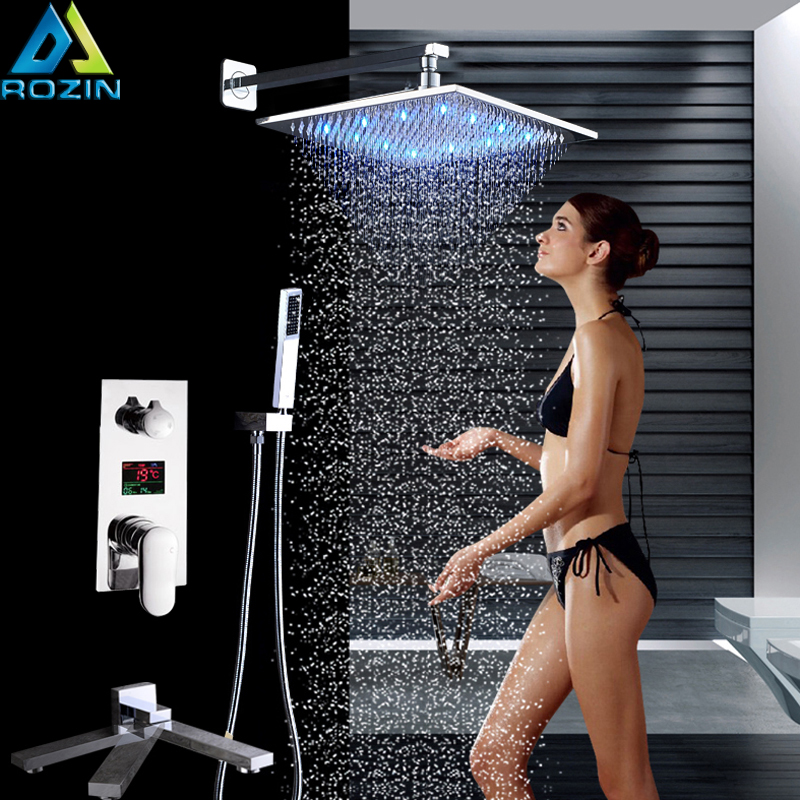 Chrome LED 12 Rainfall Shower Faucet Chrome Digital Temperature Screen Bath Shower Mixer with Handshower Swivel