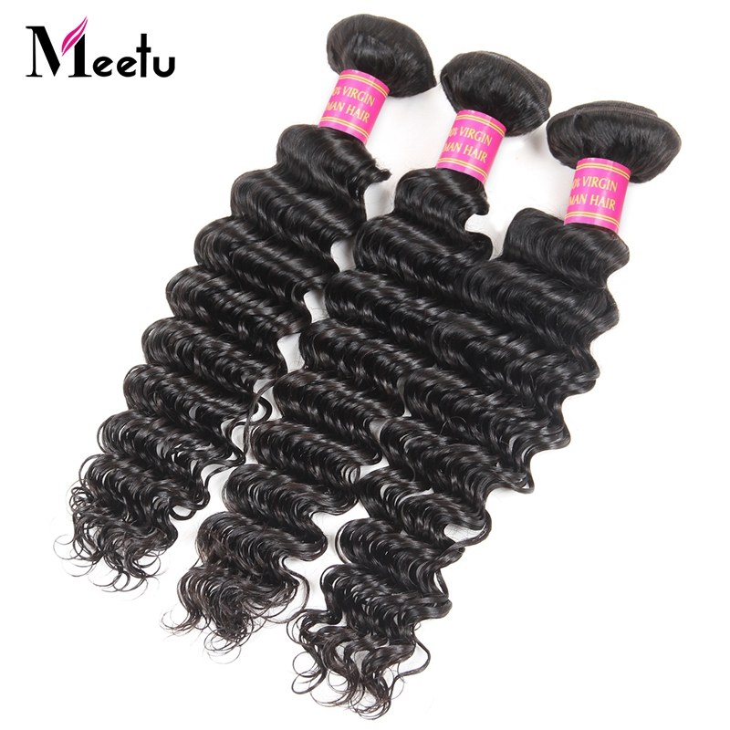 Meetu Malaysian Deep Wave Human Hair Bundles Natural Non Remy Hair Weaving Machine Double Weft Hair Extensions No Tangle 1pc
