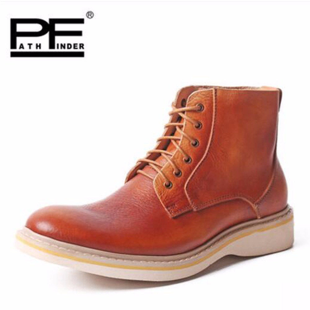 Pathfind men High quality Luxury Leather ankle Boots Waterproof Motorcycle Martin Tooling Men Outdoor Western Botas mans shoes pathfind luxury brand leather ankle snow boots europe style motorcycle martin tooling military boots men outdoor casual shoes