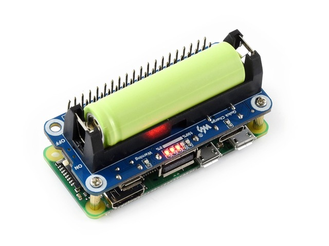 Waveshare Li ion Battery HAT for Raspberry Pi 5V Regulated Output Bi directional Quick Charge integrates SW6106 power bank chip