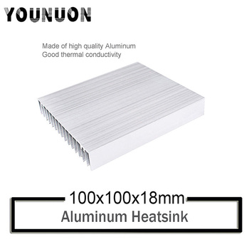 10Pcs YOUNUON 100x100x18mm Silver Aluminum Heat Sink Heatsink Module Cooler Fin for High Power Transistor Semiconductor Devices