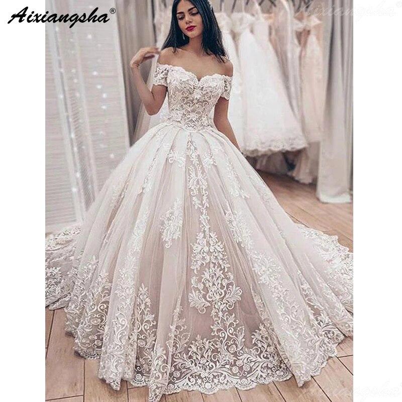 Beautiful Off The Shoulder Wedding Dresses Ball Gown Lace Ivory Bride Dress Sweetheart Wedding Gowns Vestido De Casamento Wedding Dresses Aliexpress