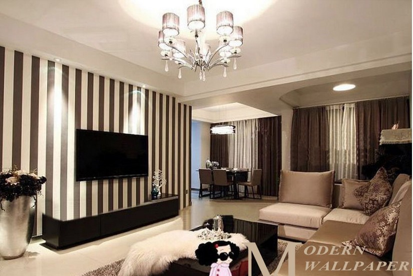 Black and cream living room wallpaper for Wallpaper lounge feature wall
