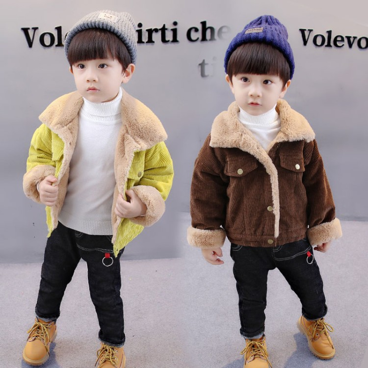 2018 autumn Kids Clothes Baby Boys Jackets Winter Coat corduroy Thick Warm Children Boys Clothing Fashion coat Infant Boys children autumn and winter warm clothes boys and girls thick cashmere sweaters