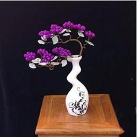 Lucky Tree! Natural Pretty Purple Chalcedony&Green Aventurine Crystal Gem Tree