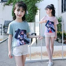b8aea31b1 Weixu niños niñas verano niños dibujos animados vaquero pegatinas manga  corta Camiseta adolescente algodón camisas ropa
