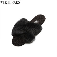 New Pantoffels Dames Winter Fur Slippers Women Shoes Slides High Quality Home Slippers Ladies Sandalias Rasteiras