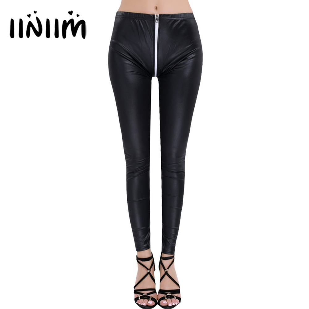 iiniim Women Faux Leather Zippered Open Crotch Breathable Fabric Soft Ankle Length Pants Stretchy Leggings Fashion Sexy Pants