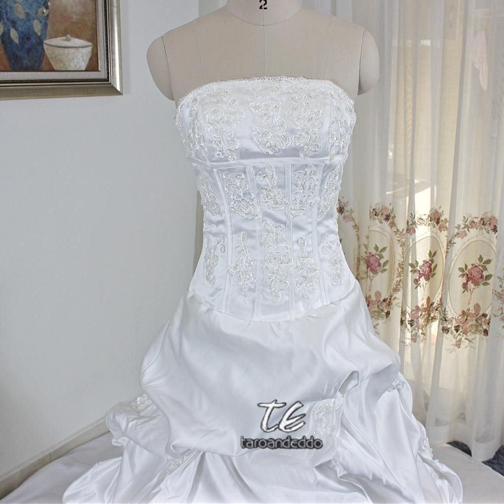Strapless Expose Boning Pick Up Skirt A line Matte Satin Wedding ...