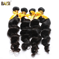 BAISI Hair 3PCS /LOT 100% Unprocessed Human Hair Peruvian 10A Raw Virgin Hair Natural Wave Extension,Natural Color