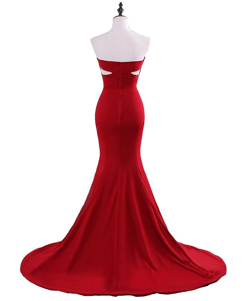 JaneVini vestido de fiesta de sirena rojo árabe 2018 escote corazón largo vestidos de dama de honor Sexy Dubai botón señora Formal vestido - 4