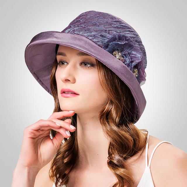2016 Nueva Primavera Verano Flores Brillante Estéreo sombreros de fieltro de Ala Sombrero de Dama de La Moda de Estilo Británico Sombrero de Viajes B-3177