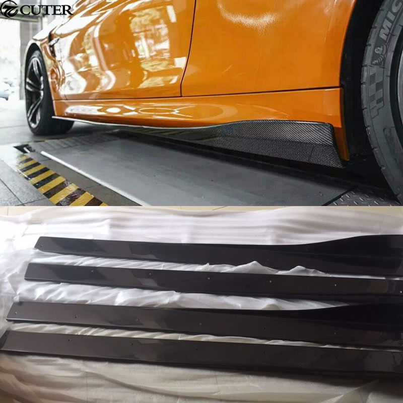 F82 M4 3D minigonne laterali in fibra di carbonio di stile grembiule per BMW F82 M4 auto body kit 2014UP