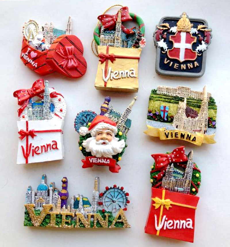 Hot Sale Handmade Painted Panoramic View Of Golden Vienna 3D Fridge Magnets Tourism Souvenirs Refrigerator Magnetic Stickers