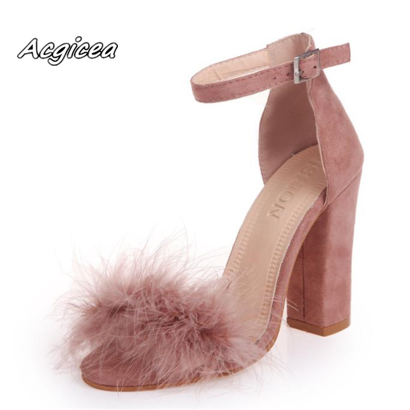 2019 Ankle Strap Super High Heels Faux Fluffy Rabbit Fur Women Sandals 10 CM High Heel Summer Lady Shoes Pumps  Zapatos Mujer